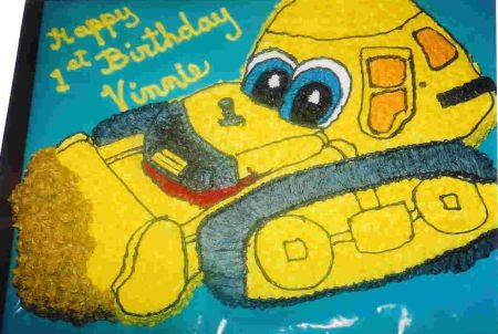 Fabulous Boys Birthday Cakes Such As This Bulldozer Cake Personalised Birthday Cards Beptaeletsinfo