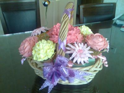 cakes with flowers on them. A Basket of Flowers Cake