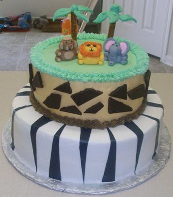 Baby Boy Safari Themed Baby Shower Cake