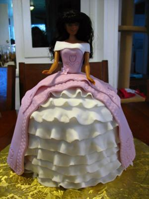 Barbie Cake with Pink and White Dress