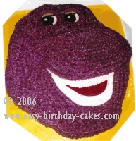 Excellent Barney Birthday Cake Pictures And Instructions Personalised Birthday Cards Cominlily Jamesorg
