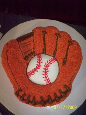 Baseball Birthday Cake on Baseball Glove Cake