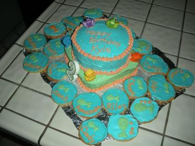 Fish Theme Birthday Birthday Cake http://www.easy-birthday-cakes.com/birthday-fish-theme-cake.html