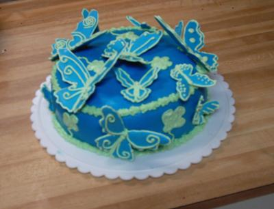 Blue Butterfly Birthday Cake
