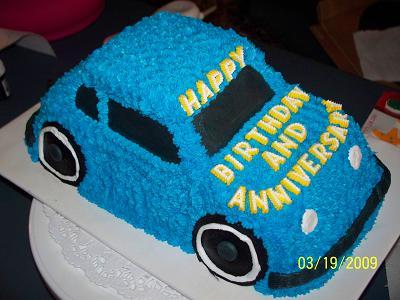 Easy Car Cake Design : Blue Car Cake