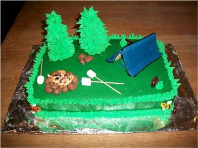Camping Scene Birthday Cake