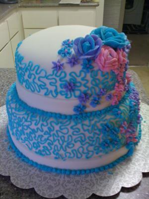 Cascades Of Flowers Cake