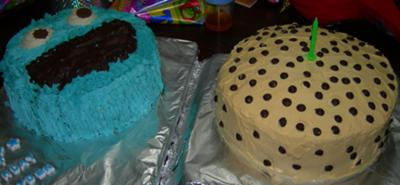 Cookie Monster and Chocolate Chip Cookie Cakes