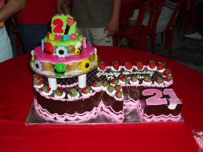 Cute and Delicious 21st Birthday Cake. by Brenda (Sel). 21st Birthday Cake