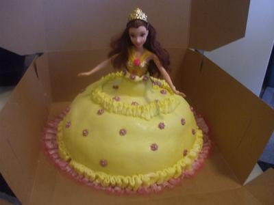 This Disney Princess Belle cake was made with one pyrex bowl dish,