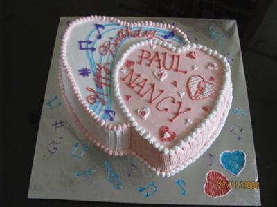 Double Heart Music Cake