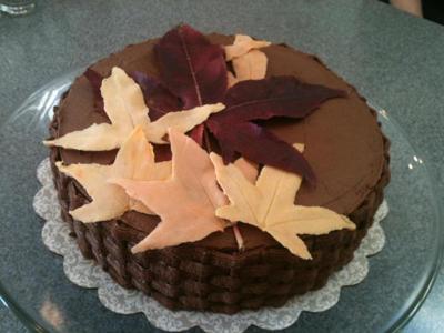 Fall Leaves Cake for Thanksgiving