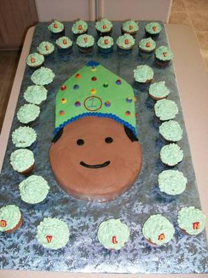 First Birthday Cake - Party Hat and Smiling Face