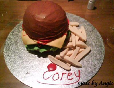 Corey's Hamburger & Chips (Fries) Cake