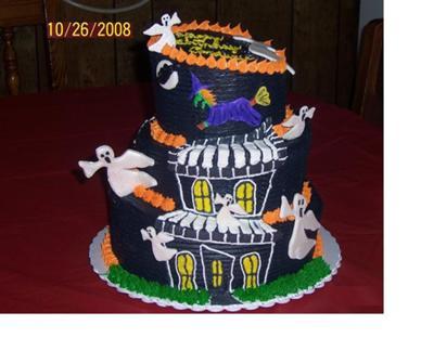 Fine Haunted House Cake Funny Birthday Cards Online Inifofree Goldxyz