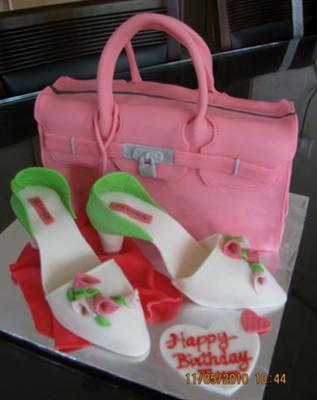 Hermes Bag and Shoe Cake