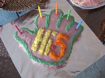 Hi 5 Hand Birthday Cake