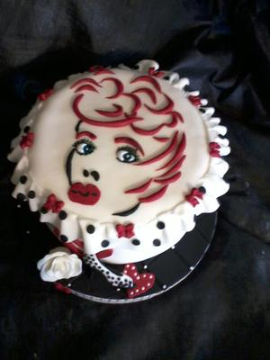 I Love Lucy Fondant Drawing Cake