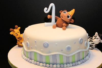 Zoo Animals 1st Birthday Cake