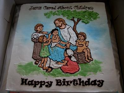 Awesome Jesus Cared About Children Cake Personalised Birthday Cards Veneteletsinfo