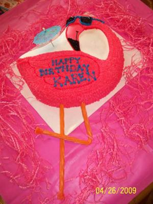 This flamingo cake was for my sister I used the Wilton goose pan and one