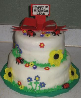 Ladybugs and Daisies Cake