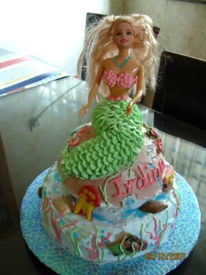 Tremendous Little Mermaid On The Rock Cake Birthday Cards Printable Giouspongecafe Filternl