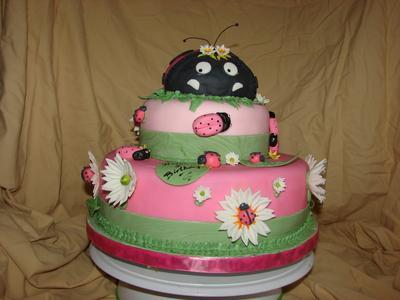 Pink Lady Bug Cake