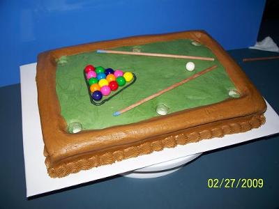 My daughter came up with this pool table birthday cake for her friend.