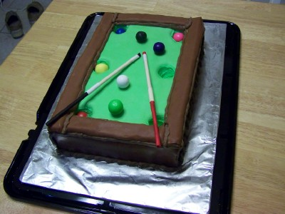 Peachy Pool Table Cake With Fondant Personalised Birthday Cards Akebfashionlily Jamesorg