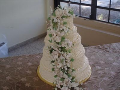 "This Quinceanera cake was made using a 14"", 12"", 10"", 8"" and 6"" round pans."