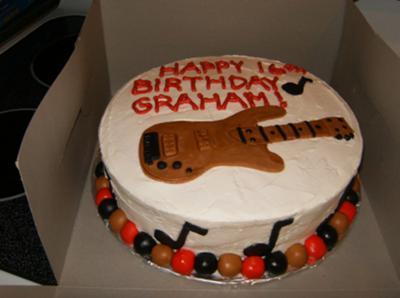 Round Bass Guitar Cake