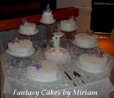Seven Tiers Wedding Cake with Cherub Fountain