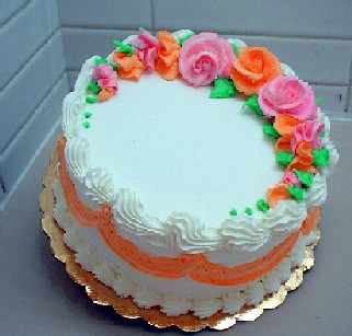 Pink and Orange Flower Birthday Cake