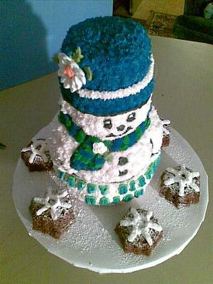 Stand Up Snowman Cake