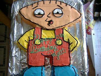 Wyett's Birthday Cake 2008 - Stewie (Family Guy) Cake