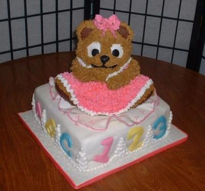 Teddy Bear Baby Shower Cake for a Baby Girl. by Miriam Rothstein