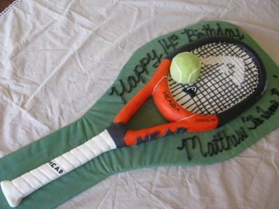 Tennis Racquet and Ball Cake