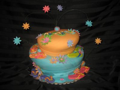 Topsy Turvy Flip Flop Cake