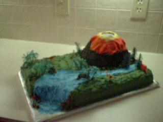 Volcano Cake With Waterfall