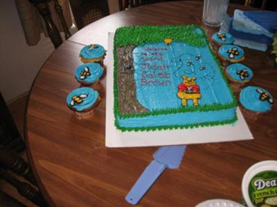 Winnie the Pooh Cake and Bee Cupcakes