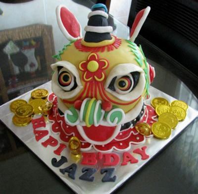 3D Lion Dance Cake