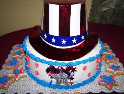 4th of July 2008 Party Hat Cake