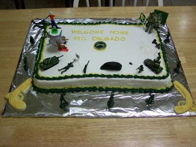 Front View of Army Militarty Police Welcome Home Cake