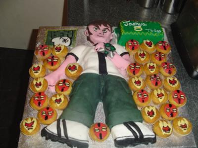 Ben 10 cake and Alien cupcakes
