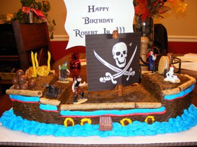 Awesome Capn Roberts Pirate Ship Cake Personalised Birthday Cards Bromeletsinfo