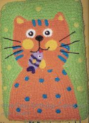 orange cat child birthday cake idea