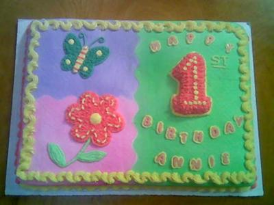 Colorful First Birthday Sheet Cake