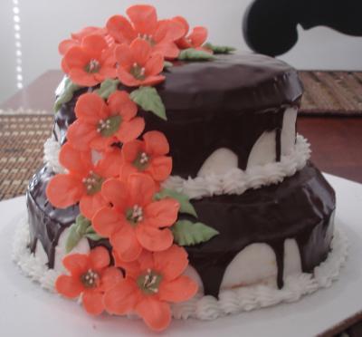 Beautiful Flowers and Ganache Cake