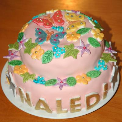 Butterfly and Flowers Cake